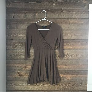 NWOT F21 light brown wrap fit & flare dress— sz S